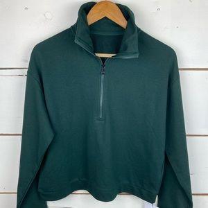 Zyia green classic hoodie large 1/4 zip